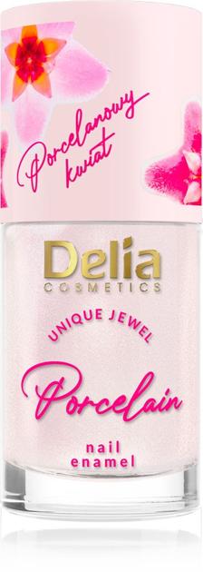 """Delia Cosmetics Porcelain Lakier do paznokci 2w1 z kwiatem porcelany nr 4 beżowy 11ml"""""""