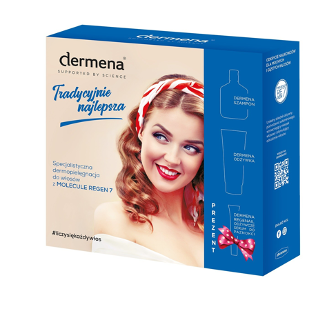 """Dermena Supported By Science Zestaw prezentowy (szampon 200ml+odżywka 200ml+serum 7ml)"""""""