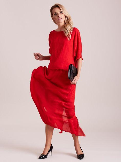 Długa zwiewna sukienka czerwona                              zdj.                              5