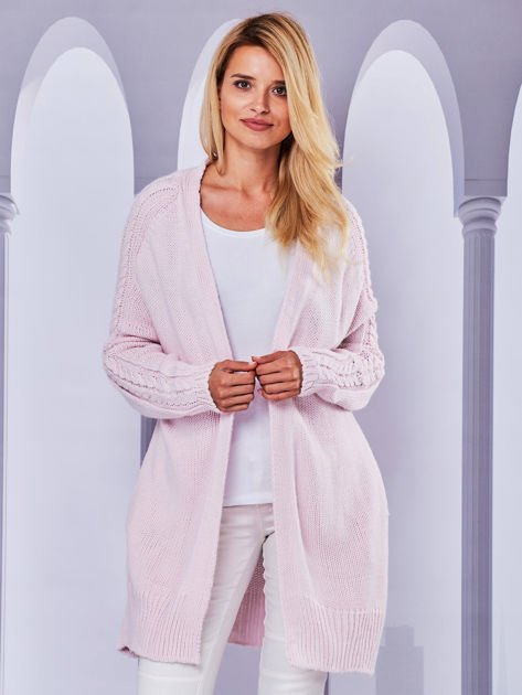 Długi sweter bez zapięcia z kieszeniami jasnoróżowy                                  zdj.                                  1