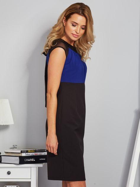 Dopasowana sukienka koktajlowa z szarfą czarno-kobaltowa                              zdj.                              5