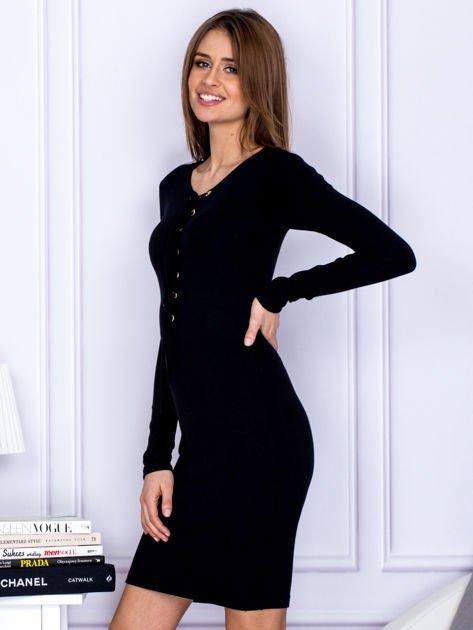 Dopasowana sukienka z wiązanym dekoltem czarna                                  zdj.                                  5