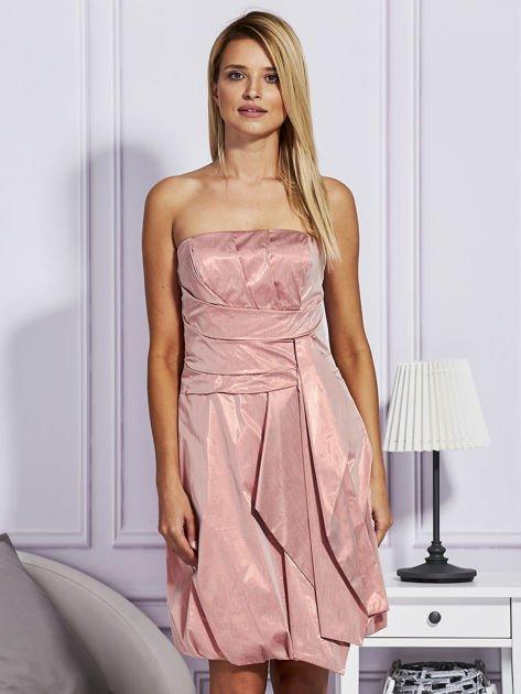 Drapowana sukienka z metalicznym połyskiem pomarańczowa                              zdj.                              1