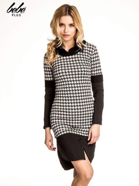 Dwuczęściowa sukienka w pepitkę z czarną koszulą                                  zdj.                                  1