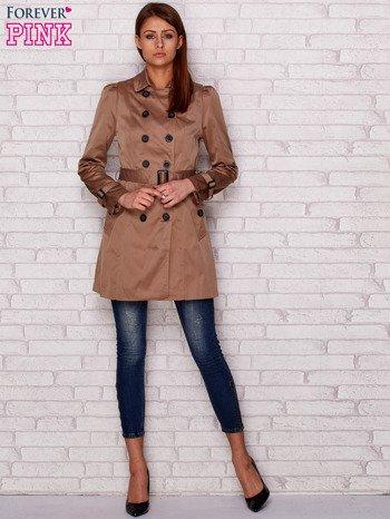 Dwurzędowy płaszcz z paskiem i kieszeniami ciemnobeżowy                              zdj.                              4