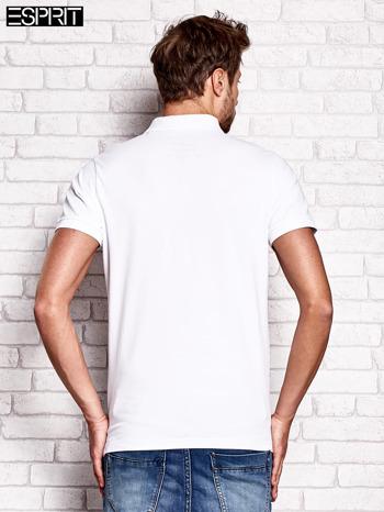 ESPRIT Biała gładka koszulka polo męska                                  zdj.                                  3