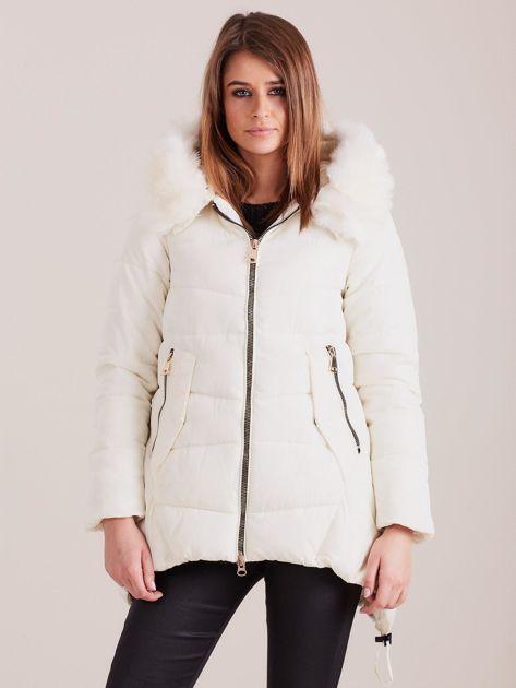 Ecru asymetryczna kurtka zimowa                              zdj.                              1