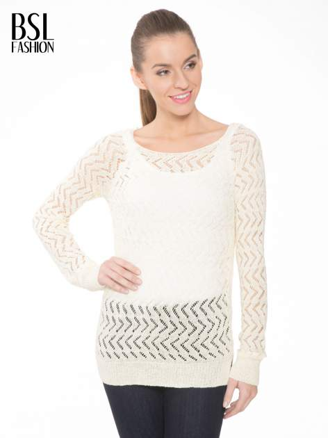Ecru ażurowy dłuższy sweter                                  zdj.                                  1