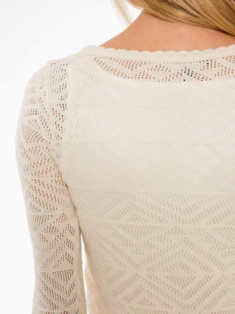 Ecru ażurowy sweter kardigan na guziki                                  zdj.                                  7