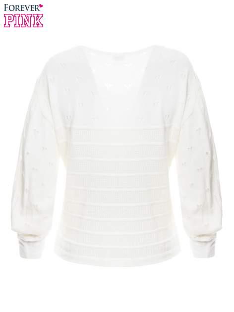 Ecru ażurowy sweter w serduszka                                  zdj.                                  7