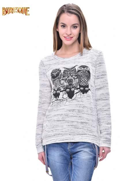 Ecru bluza damska z sówkami                                  zdj.                                  1