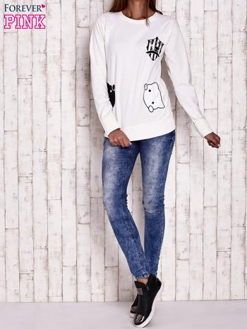 Ecru bluza z kocimi motywami                                  zdj.                                  4