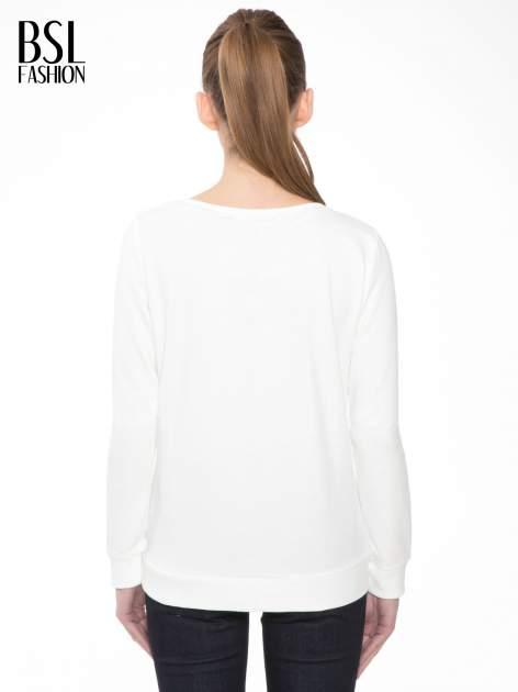 Ecru bluza z kwiatowym nadrukiem litery M                                  zdj.                                  4