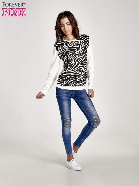 Ecru bluza z nadrukiem zebra print                                  zdj.                                  7
