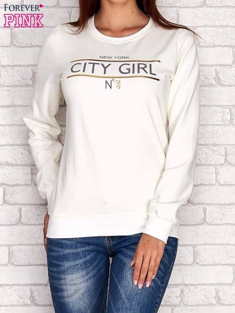 Ecru bluza z napisem CITY GIRL                                  zdj.                                  1