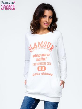 Ecru bluza z napisem GLAMOUR