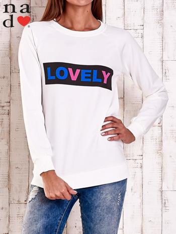 Ecru bluza z napisem LOVELY                                  zdj.                                  1