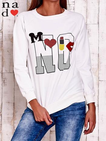 Ecru bluza z napisem NO