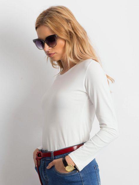 Ecru bluzka basic z długim rękawem                              zdj.                              3