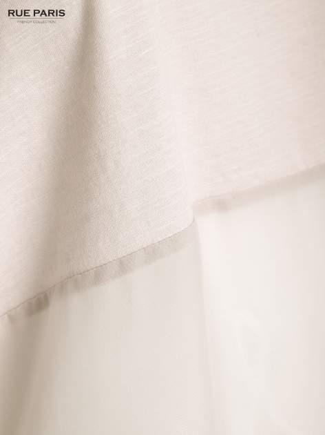 Ecru bluzka oversize z siateczkowym dołem                                  zdj.                                  5