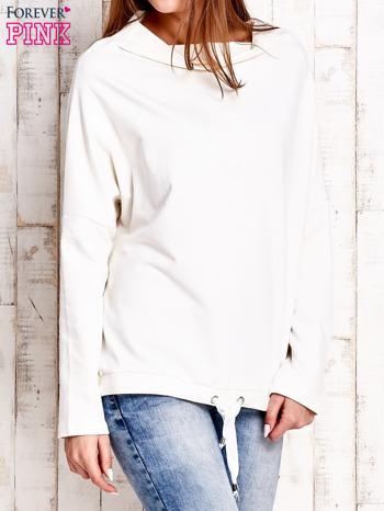 Ecru bluzka oversize z troczkami                                  zdj.                                  4