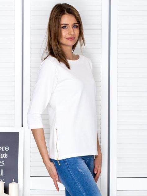 Ecru bluzka z bocznymi suwakami                                  zdj.                                  5