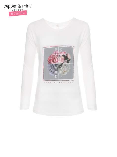 Ecru bluzka z nadrukiem kwiatów i napisem BEAUTY OF THE WORLD                                  zdj.                                  5