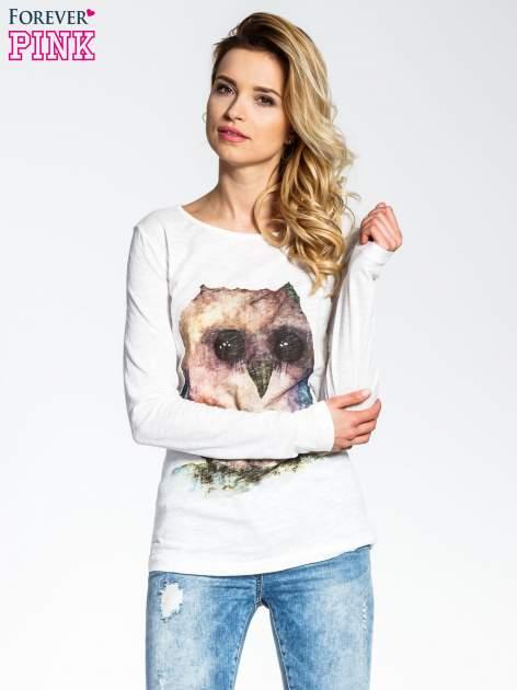 Ecru bluzka z nadrukiem sówki