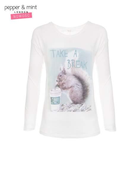 Ecru bluzka z nadrukiem wiewiórki i napisem TAKE A COFFEE BREAK                                  zdj.                                  5