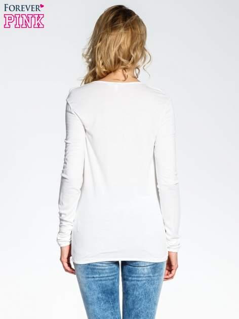 Ecru bluzka z wiązaną łezką z przodu                              zdj.                              4