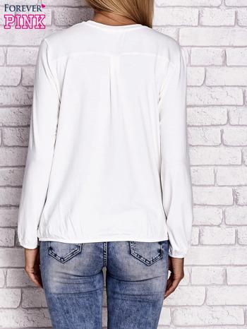 Ecru bluzka ze ściągaczem na dole                                  zdj.                                  4