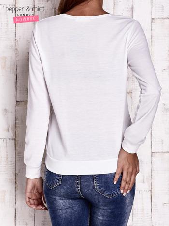 Ecru bluzka ze srebrną aplikacją                                  zdj.                                  4
