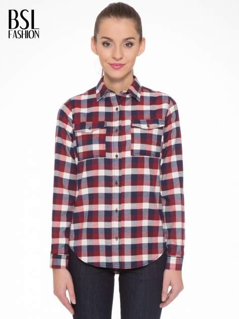 Ecru-bordowa damska koszula w kratę z kieszonkami                                  zdj.                                  1