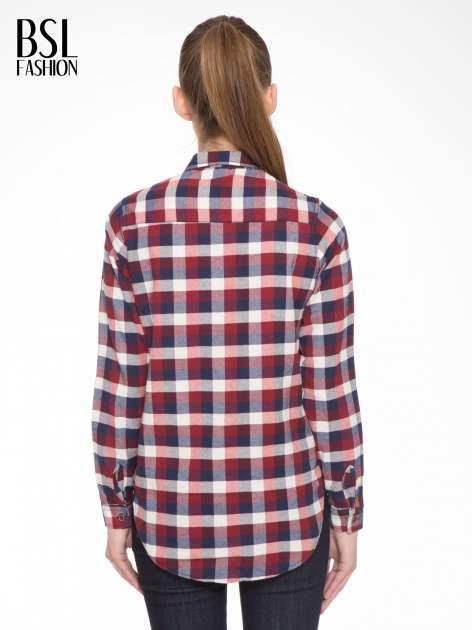 Ecru-bordowa damska koszula w kratę z kieszonkami                                  zdj.                                  4