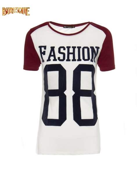 Ecru-bordowy t-shirt z nadrukiem FASHION 88                                  zdj.                                  8