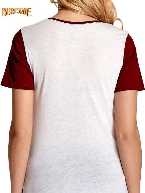 Ecru-bordowy t-shirt z nadrukiem FASHION 88                                  zdj.                                  6