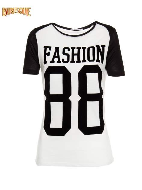 Ecru-czarny t-shirt z nadrukiem FASHION 88                                  zdj.                                  1