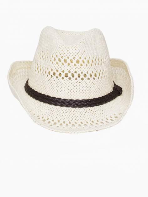 Ecru damski kapelusz kowbojski z ciemną plecionką                                  zdj.                                  2
