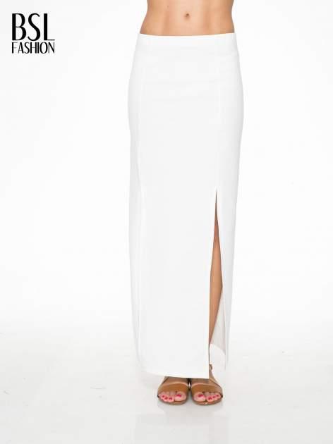 Ecru długa spódnica maxi z dwoma rozporkami z boku