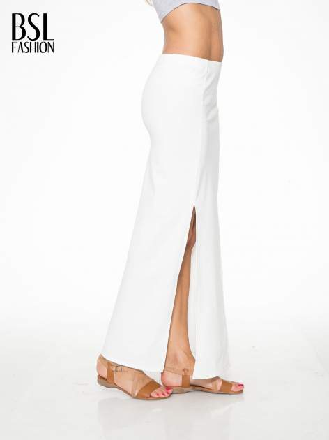 Ecru długa spódnica maxi z dwoma rozporkami z boku                                  zdj.                                  3