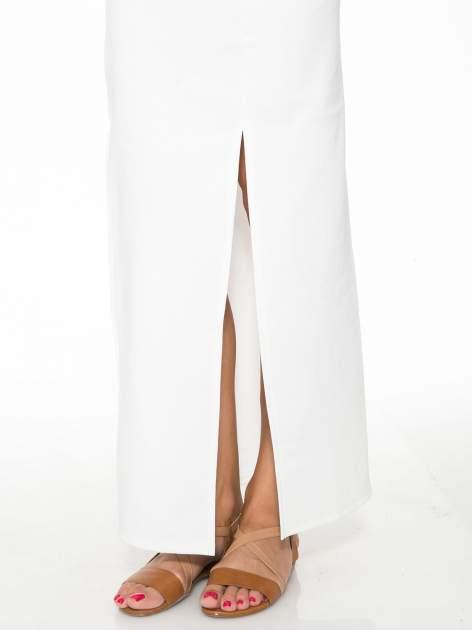 Ecru długa spódnica maxi z dwoma rozporkami z boku                                  zdj.                                  8