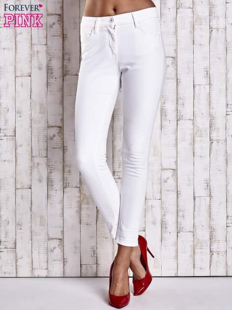 Ecru dopasowane spodnie skinny jeans                                  zdj.                                  1