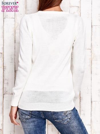 Ecru dzianinowy sweter z wiązaniem                                  zdj.                                  4