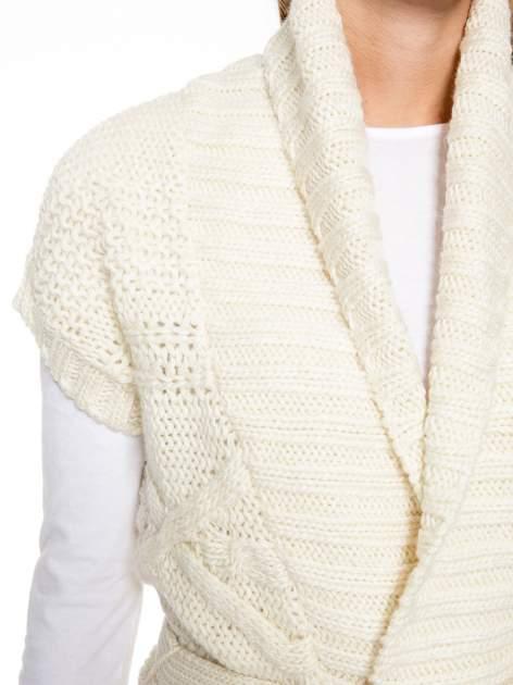 Ecru dziergany długi sweter kardigan z frędzlami na dole                                  zdj.                                  6