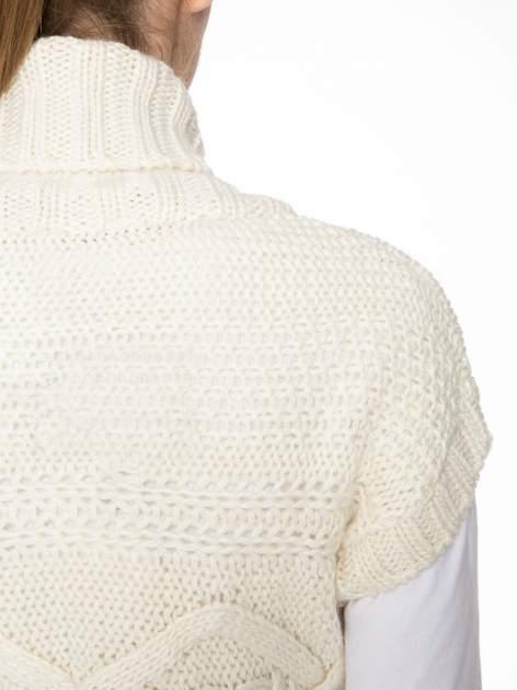 Ecru dziergany długi sweter kardigan z frędzlami na dole                                  zdj.                                  9