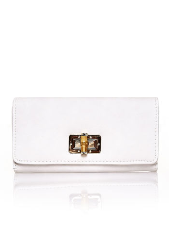 Ecru fakturowany portfel ze stylizowanym zapięciem