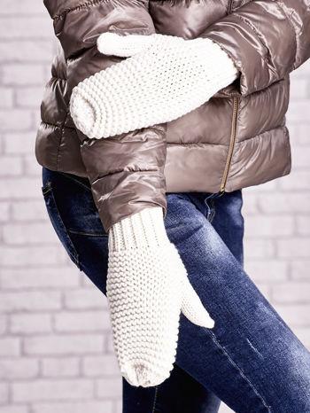 Ecru grube rękawiczki na jeden palec                                  zdj.                                  1