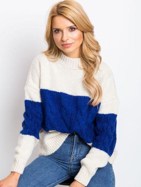 Ecru-kobaltowy sweter Ruffle                              zdj.                              1