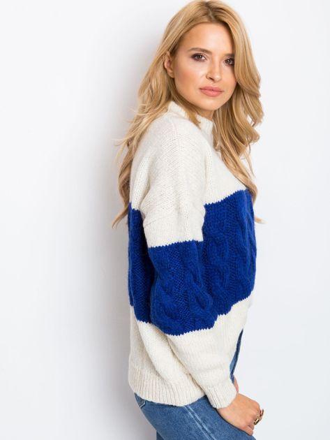 Ecru-kobaltowy sweter Ruffle                              zdj.                              5