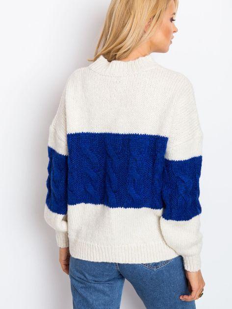 Ecru-kobaltowy sweter Ruffle                              zdj.                              2